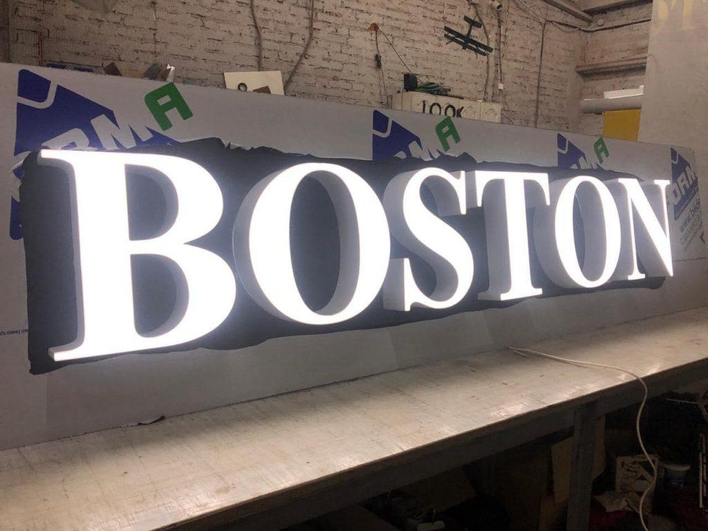 Объемные световые буквы Boston